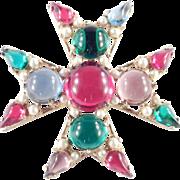 Art Glass Cabochon Faux Pearl Maltese Cross Brooch Pin Pendant