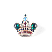 Trifari Rhinestone Glass Cabochon Queen Crown Brooch Pin