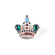 Trifari Rhinestone Glass Cabochon Queen Crown Brooch Pin