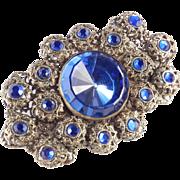 Czechoslovakia Filigree Rhinestone Brooch Pin