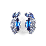 Large Rhinestone Climber Earrings Rhodium Plate