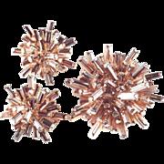 Schoffel Austria Rhinestone Baguette Brooch Pin Earrings Demi Parure Set