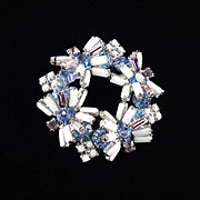 Rhinestone Milk Glass Bead Baguette Brooch Pin Rhodium Plate