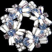 Rhinestone Milk Glass Bead Baguette Brooch Pin Rhodium Plate