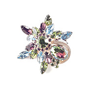 Rhinestone Watermelon Tourmaline Shooting Star Brooch Pin