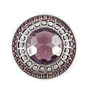 Rose Cut Faux Amethyst Art Glass Rhinestone Brooch Pin