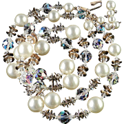 Vendome Coro Double Strand Crystal Glass Bead Golden Disk Faux Pearl Necklace
