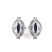 Whiting & Davis Hematite Glass Earrings