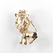 Hobe Lion Brooch Pin Faux Pearl Crown