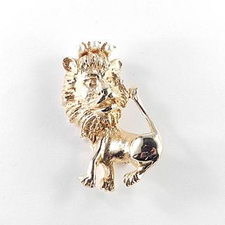 Hobe Lion Brooch Pin Faux Pearl Crown