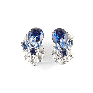Robert Rhinestone Faux Pearl Earrings Rhodium  Plate