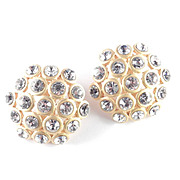 Large Domed Rhinestone Button Earrings