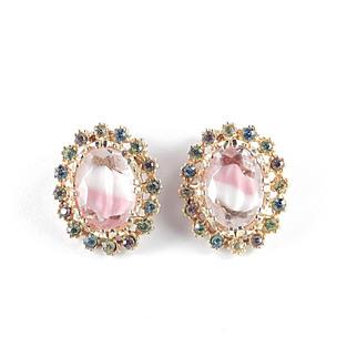 Givre Glass Rhinestone Earrings Signed ART