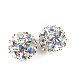 Aurora Borealis Rhinestone Domed Button Earrings