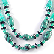 Double Row Marbled Glass Bead Necklace