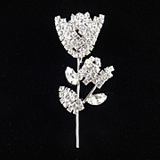 Rhinestone Tulip Flower Brooch Pin