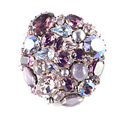 Austria Rhinestone Art Glass Cabochon Faux Pearl Brooch Pin