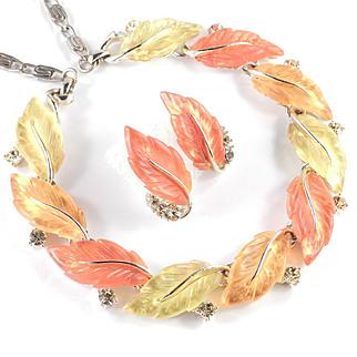 Lisner Autumn Leaves Thermoset Rhinestone Necklace Earrings Demi Parure Set