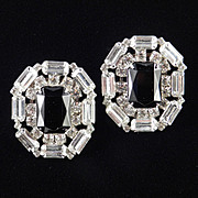 Large Rhinestone Art Glass Earrings