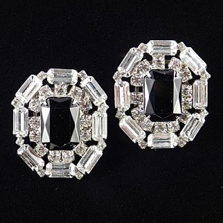 Large Rhinestone Art Glass Earrings
