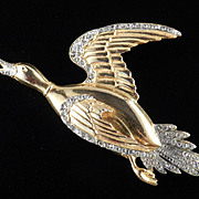 Large Rhinestone Duck Brooch Pin