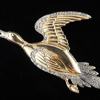 Large Rhinestone Duck Brooch Pin