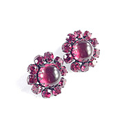 Red Rhinestone Glass Cabochon Earrings Japanned