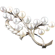 Sterling Silver Cultured Pearl Brooch Pin