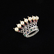 Trifari Sterling Silver Rhinestone Faux Pearl Crown Brooch Pin