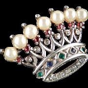 Trifari Sterling Silver Rhinestone Faux Pearl Crown Brooch Pin