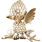 Tortolani Rhinestone Faux Pearl Baby Bird Brooch Pin