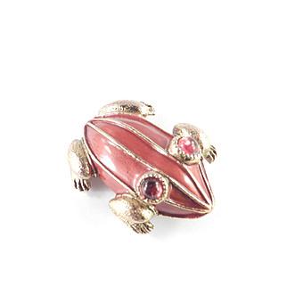 HAR Enamel Frog Brooch Pin Glass Cabochons