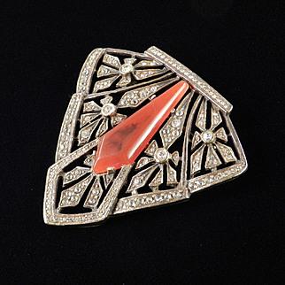 Les Bernard Rhinestone Faux Carnelian Retro Deco Brooch Pin