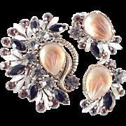 Florenza Molded Glass Rhinestone Brooch Pin Earrings Demi Parure Set Pristine