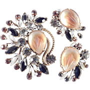 Florenza Molded Glass Rhinestone Brooch Pin Earrings Demi Parure Set Pristine