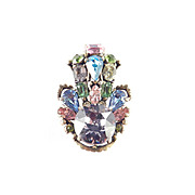 Hollycraft 1953 Pastel Rhinestone Brooch Pin