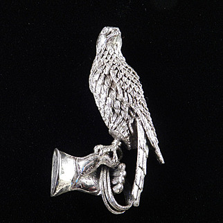 Tortolani Falcon Falconer Gloved Hand Brooch Pin