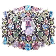 Hollycraft 1953 Domed Pastel Rhinestone Brooch Pin