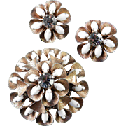 Hobe Rhinestone Milk Glass Domed Ruffle Brooch Pin Earrings Demi Parure Set
