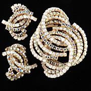Alice Caviness Rhinestone Faux Moonstone Brooch Pin Earrings Demi Parure Set
