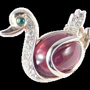 Trifari Rhinestone Glass Cabochon Belly Swan Brooch Pin