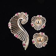 Marcel Boucher Rhinestone Brooch Pin Earrings Demi Parure Set