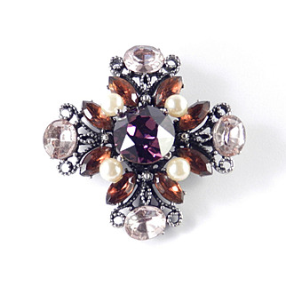 Hobe Rhinestone Faux Pearl Cross Brooch Pin