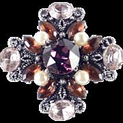 Hobe Rhinestone Faux Pearl Cross Brooch Pin