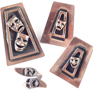 Copper Comedy Tragedy Mask Brooch Pin Earrings Ring Parure Set