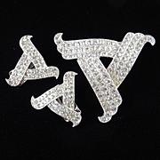 Ora Rhinestone Brooch Pin Earrings Demi Parure Set Rhodium Plate