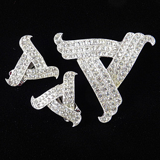 Ora Rhinestone Brooch Pin Earrings Demi Parure Set Rhodium Plate