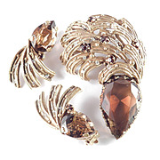 Vintage Rhinestone Art Glass Plume Brooch Pin Earrings Demi Parure Set