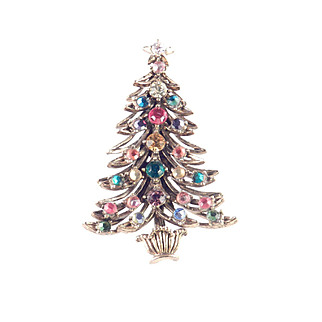 Hollycraft Rhinestone Christmas Tree Brooch Pin