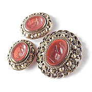 Castlecliff Faux Carnelian Molded Art Glass Intaglio Brooch Pin Pendant Earrings Set